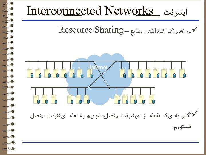 ﺍﻳﻨﺘﺮﻧﺖ Interconnected Networks ü ﺑﻪ ﺍﺷﺘﺮﺍک گﺬﺍﺷﺘﻦ ﻣﻨﺎﺑﻊ – Resource Sharing Internet ü