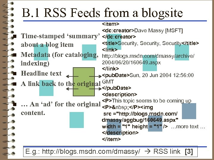 B. 1 RSS Feeds from a blogsite n n n <item> <dc: creator>Dave Massy