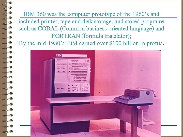 IBM 360 was the computer prototype of the 1960's and included printer, tape and