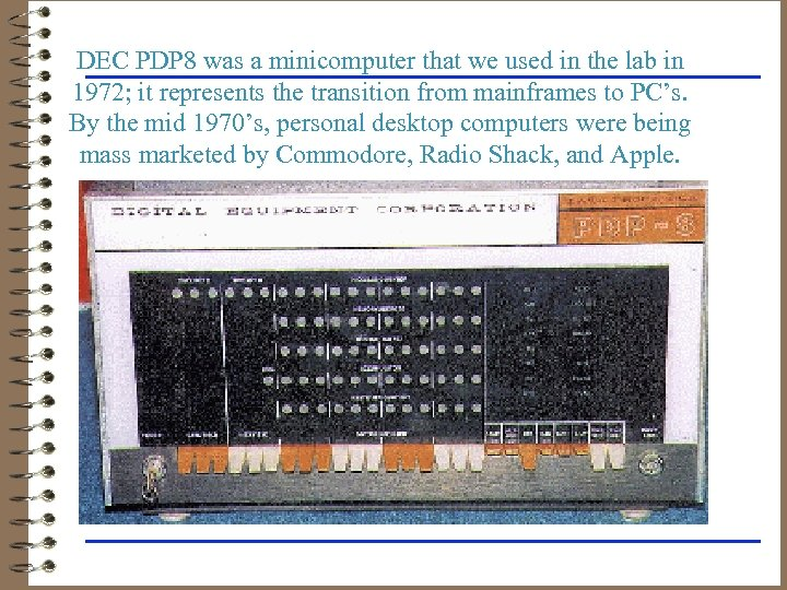 DEC PDP 8 was a minicomputer that we used in the lab in 1972;
