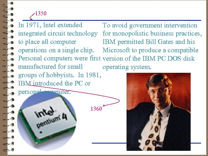 1350 In 1971, Intel extended To avoid government intervention integrated circuit technology for monopolistic