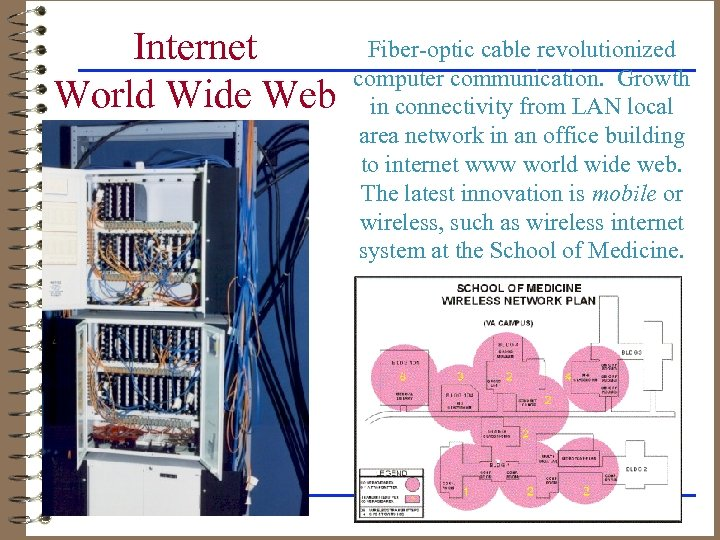 Internet World Wide Web Fiber-optic cable revolutionized computer communication. Growth in connectivity from LAN