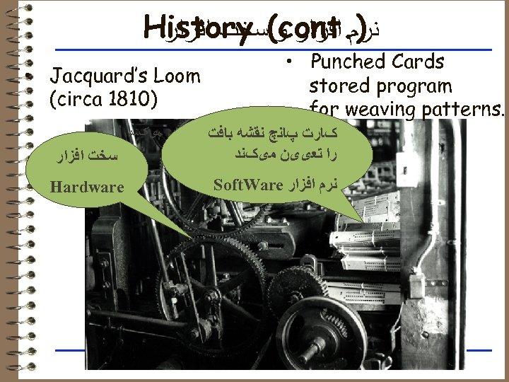 ). History (cont ﻧﺮﻡ ﺍﻓﺰﺍﺭ ﻭ ﺳﺨﺖ ﺍﻓﺰﺍﺭ • Punched Cards stored program