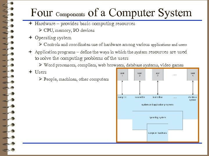 Four Components of a Computer System ª Hardware – provides basic computing resources Ø