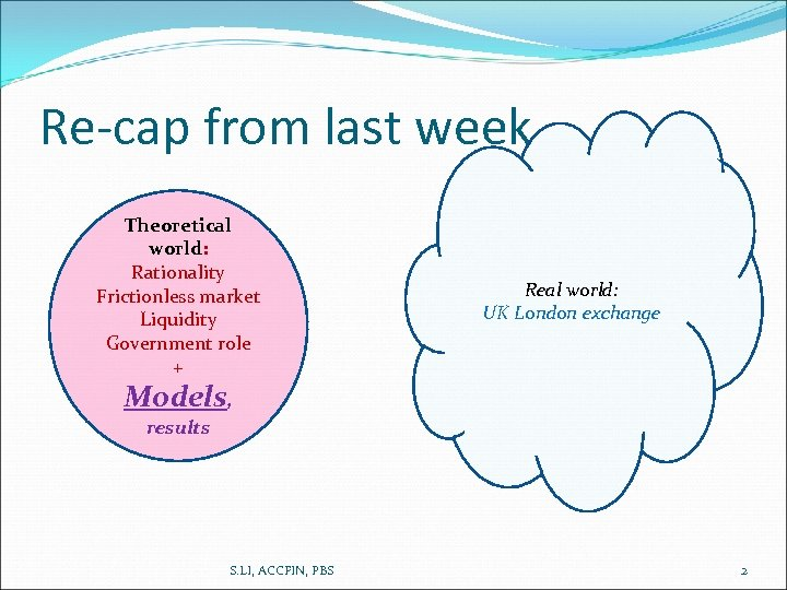 Re-cap from last week Theoretical world: Rationality Frictionless market Liquidity Government role + Real
