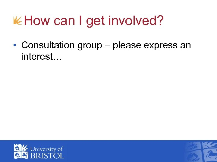 How can I get involved? • Consultation group – please express an interest…