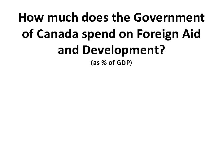 How much does the Government of Canada spend on Foreign Aid and Development? (as
