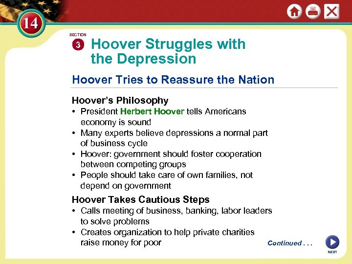 SECTION 3 Hoover Struggles with the Depression Hoover Tries to Reassure the Nation Hoover's