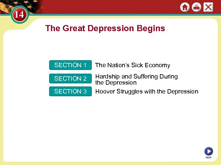 The Great Depression Begins SECTION 1 The Nation's Sick Economy SECTION 2 Hardship and