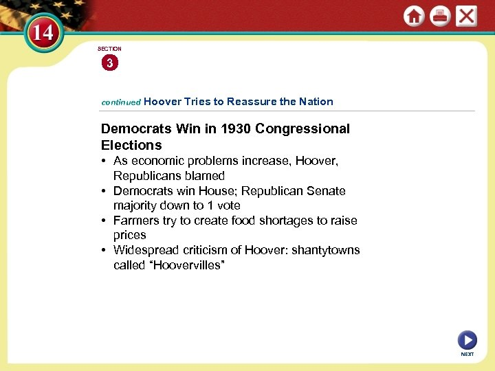 SECTION 3 continued Hoover Tries to Reassure the Nation Democrats Win in 1930 Congressional