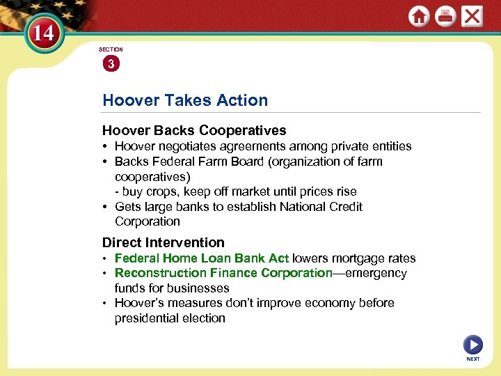 SECTION 3 Hoover Takes Action Hoover Backs Cooperatives • Hoover negotiates agreements among private
