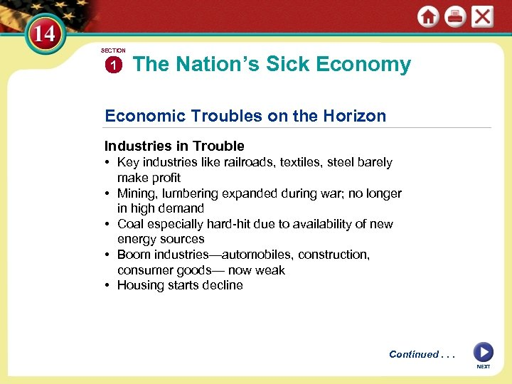 SECTION 1 The Nation's Sick Economy Economic Troubles on the Horizon Industries in Trouble