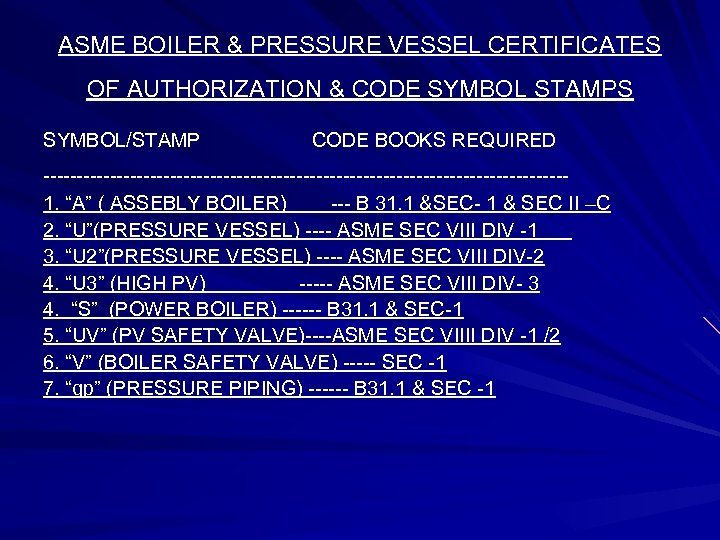ASME BOILER & PRESSURE VESSEL CERTIFICATES OF AUTHORIZATION & CODE SYMBOL STAMPS SYMBOL/STAMP CODE
