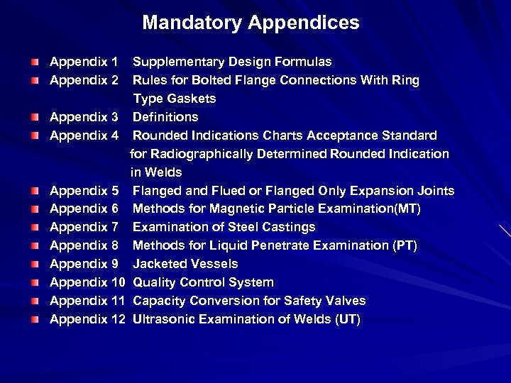 Mandatory Appendices Appendix 1 Supplementary Design Formulas Appendix 2 Rules for Bolted Flange Connections