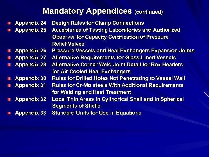 Mandatory Appendices (continued) Appendix 24 Design Rules for Clamp Connections Appendix 25 Acceptance of