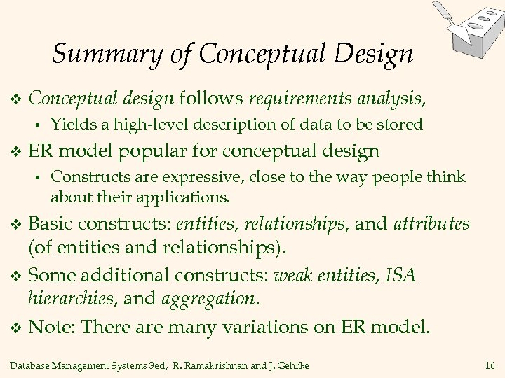 Summary of Conceptual Design v Conceptual design follows requirements analysis, § v Yields a