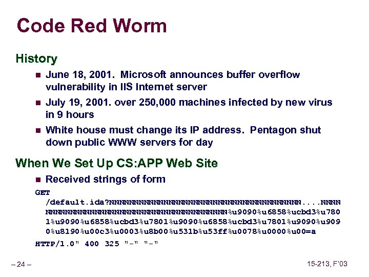 Code Red Worm History n n n June 18, 2001. Microsoft announces buffer overflow