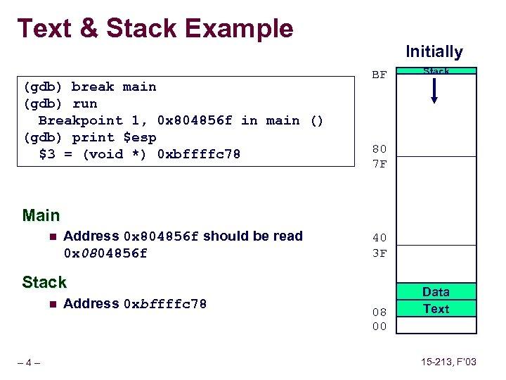 Text & Stack Example (gdb) break main (gdb) run Breakpoint 1, 0 x 804856