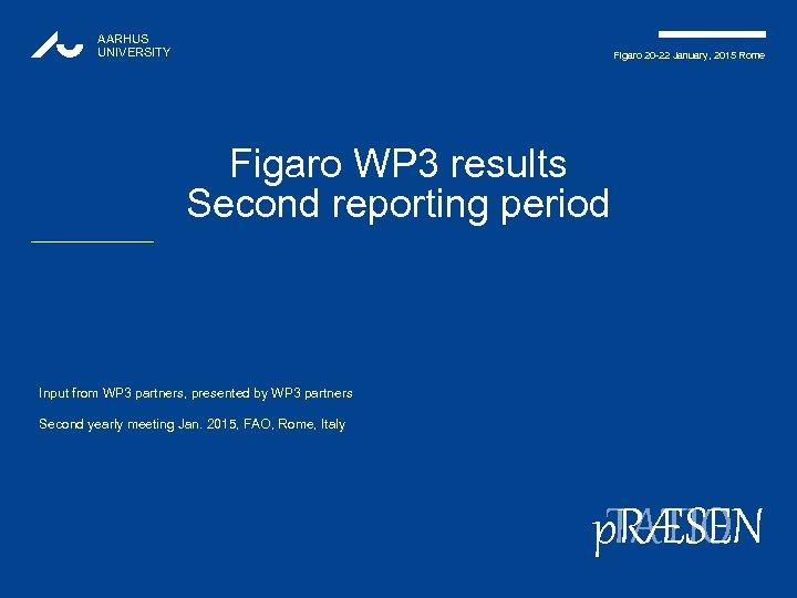 AARHUS UNIVERSITY Figaro 20 -22 January, 2015 Rome Figaro WP 3 results Second reporting