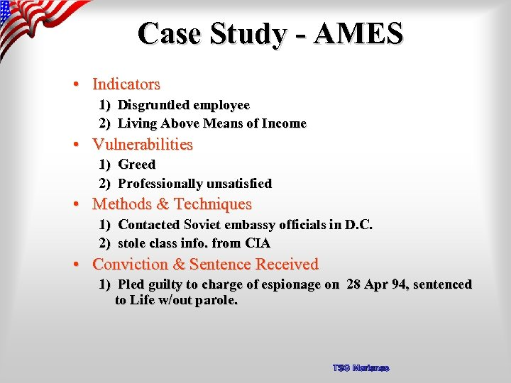 Case Study - AMES • Indicators 1) Disgruntled employee 2) Living Above Means of