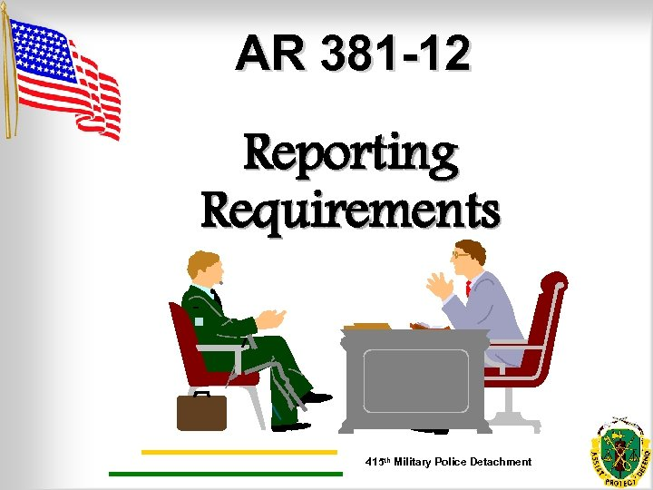 AR 381 -12 Reporting Requirements. 415 th Military Police Detachment