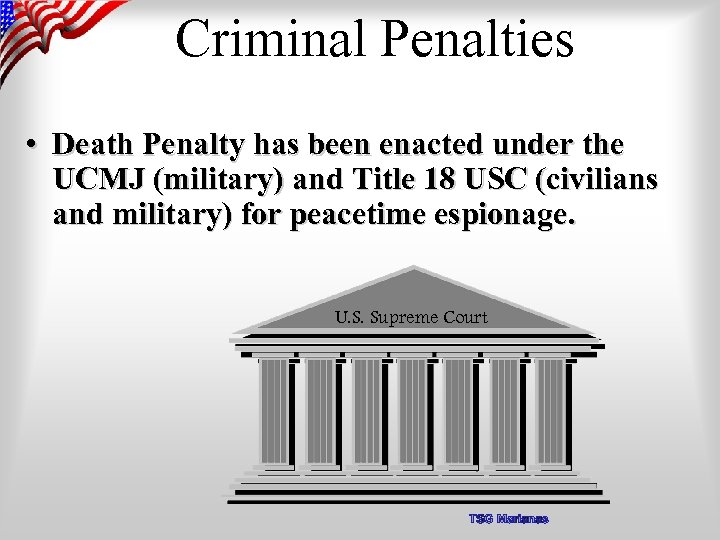Criminal Penalties • Death Penalty has been enacted under the UCMJ (military) and Title