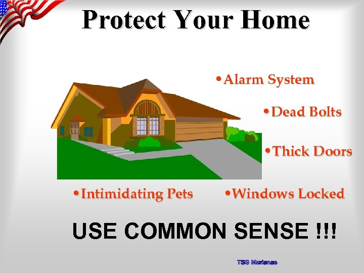 Protect Your Home • Alarm System • Dead Bolts • Thick Doors • Intimidating
