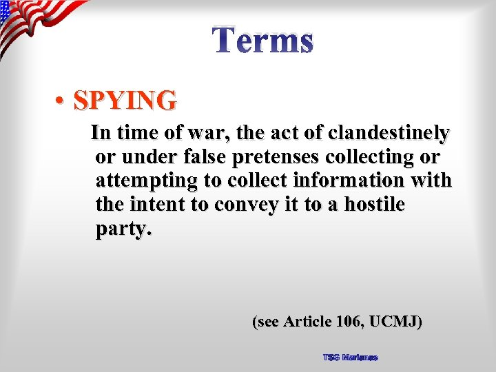Terms • SPYING In time of war, the act of clandestinely or under false