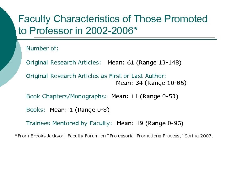 Faculty Characteristics of Those Promoted to Professor in 2002 -2006* Number of: Original Research