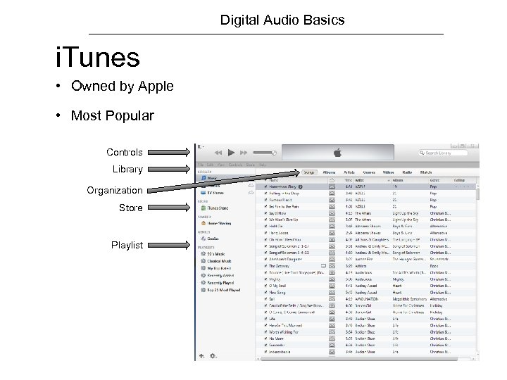 Digital Audio Basics i. Tunes • Owned by Apple • Most Popular Controls Library