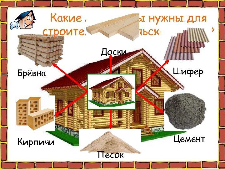 Какие материалы нужны для строительства сельского дома? Доски Брёвна Шифер Кирпичи Цемент Песок