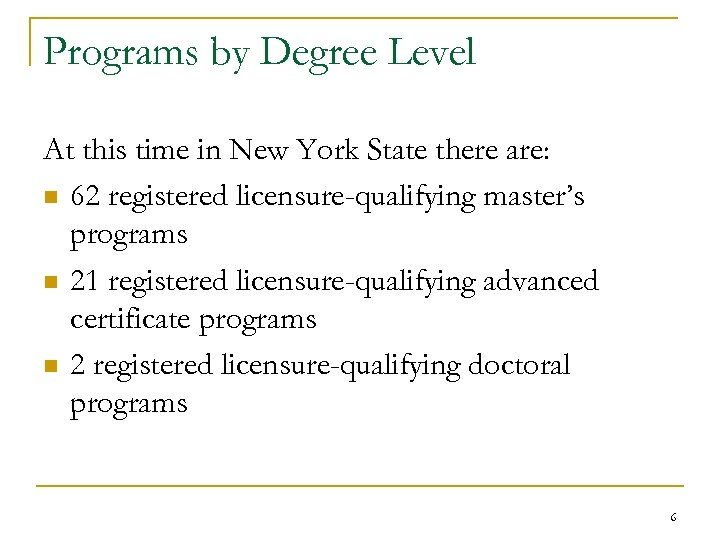 Programs by Degree Level At this time in New York State there are: n