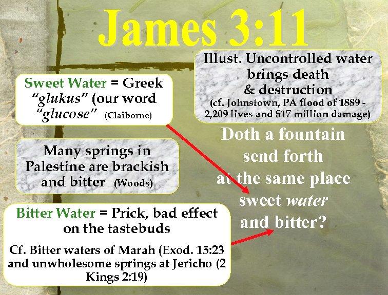 "Sweet Water = Greek ""glukus"" (our word ""glucose"" (Claiborne) Illust. Uncontrolled water brings death"