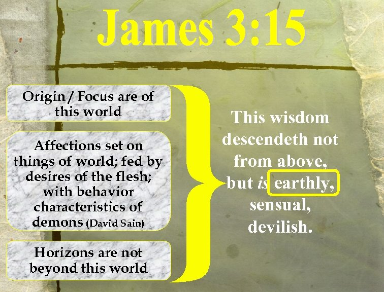 Origin / Focus are of this world Affections set on things of world; fed