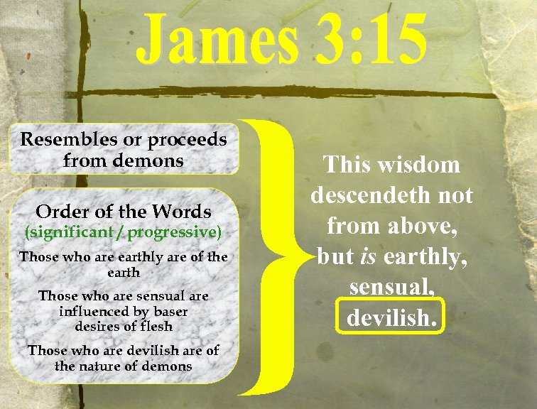 Resembles or proceeds from demons Order of the Words (significant / progressive) Those who