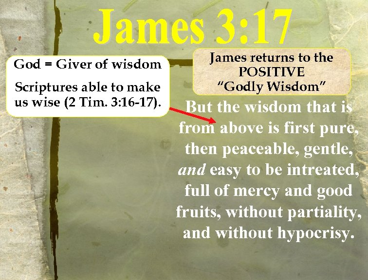 God = Giver of wisdom Scriptures able to make us wise (2 Tim. 3: