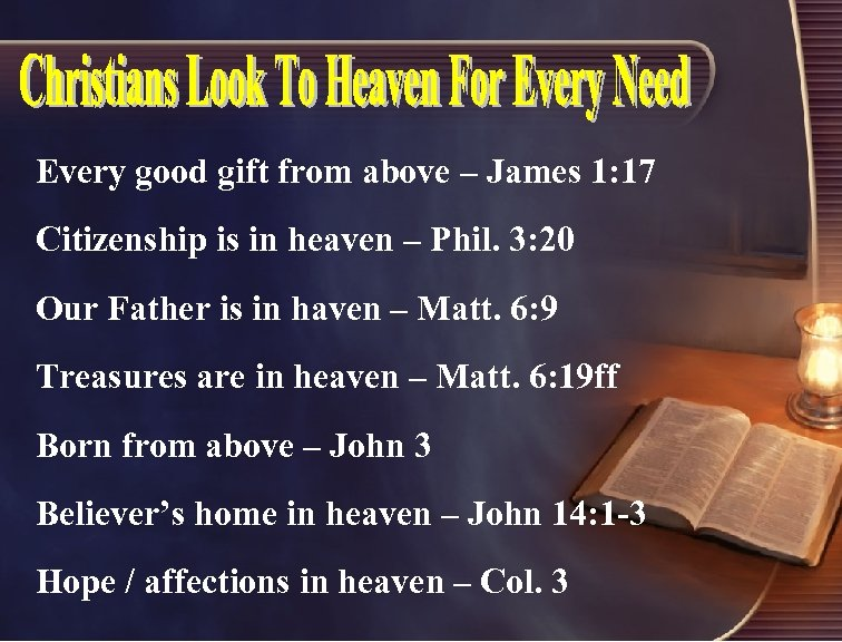 Every good gift from above – James 1: 17 Citizenship is in heaven –