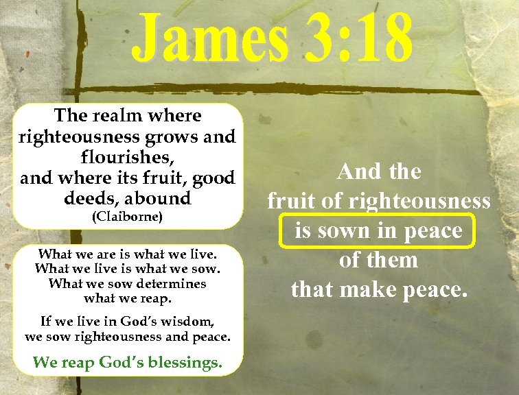 The realm where righteousness grows and flourishes, and where its fruit, good deeds, abound