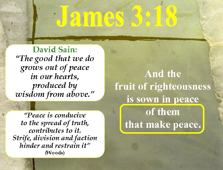 """David Sain: """"The good that we do grows out of peace in our hearts,"""