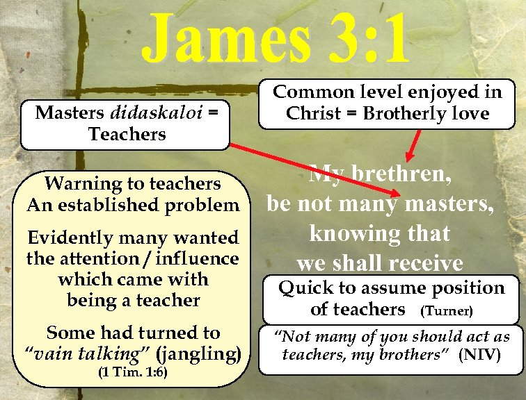 Masters didaskaloi = Teachers Warning to teachers An established problem Evidently many wanted the