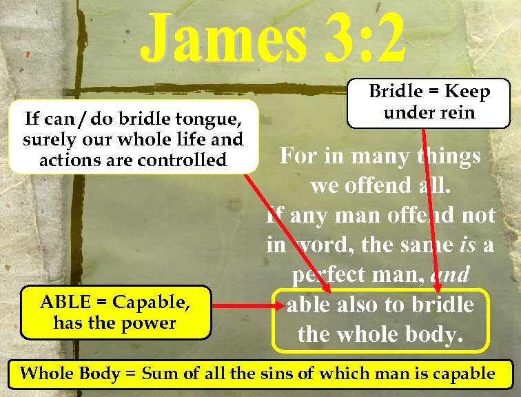 If can / do bridle tongue, surely our whole life and actions are controlled