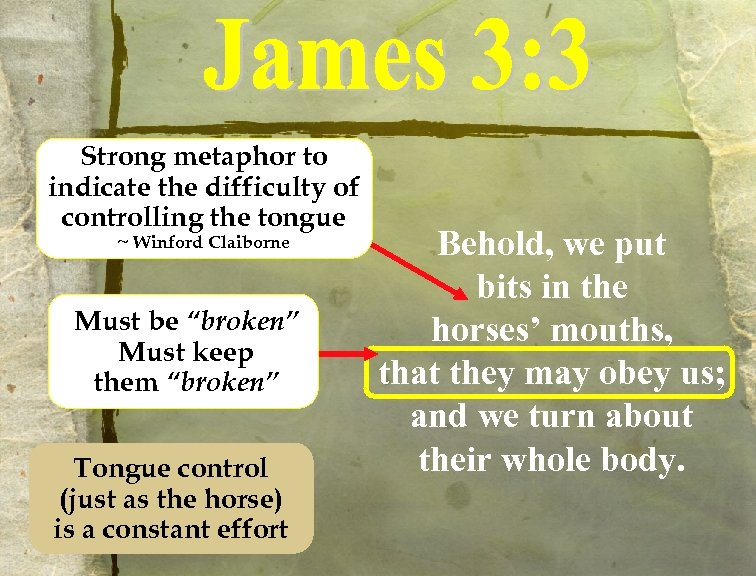 Strong metaphor to indicate the difficulty of controlling the tongue ~ Winford Claiborne Must