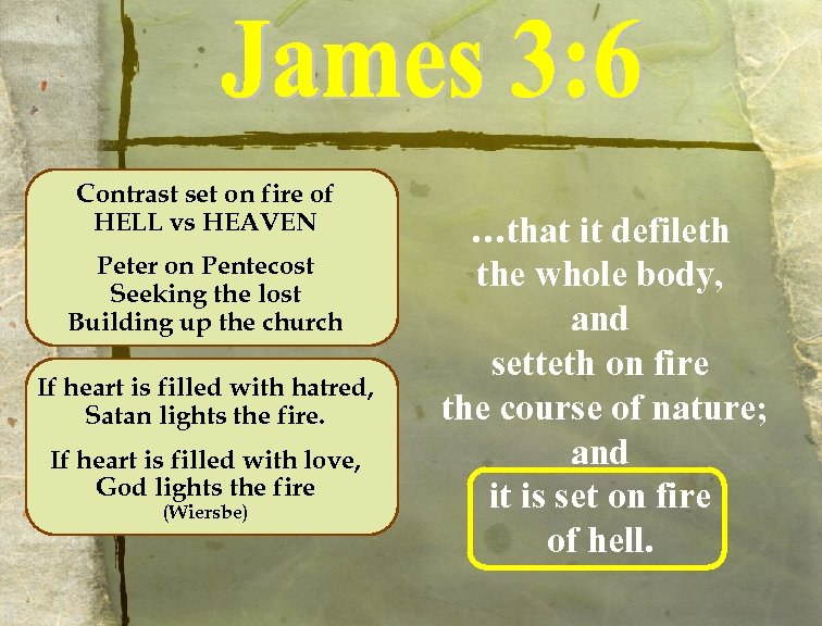 Contrast set on fire of HELL vs HEAVEN Peter on Pentecost Seeking the lost