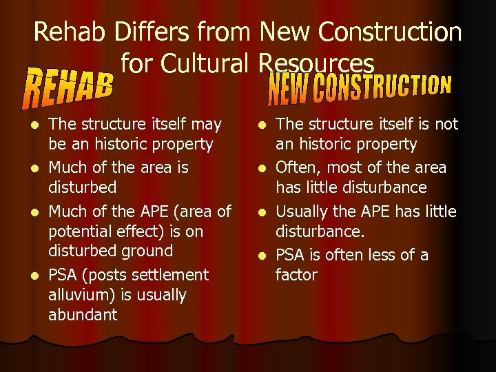 Rehab Differs from New Construction for Cultural Resources l l The structure itself may