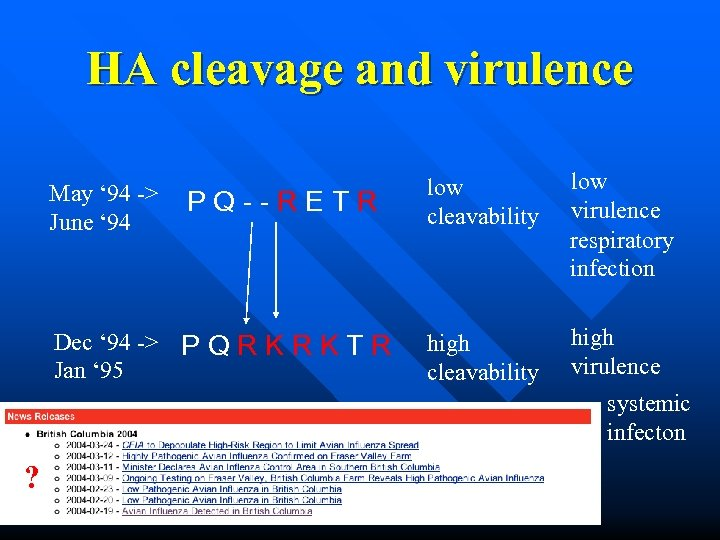 HA cleavage and virulence May ' 94 -> June ' 94 PQ--RETR Dec '