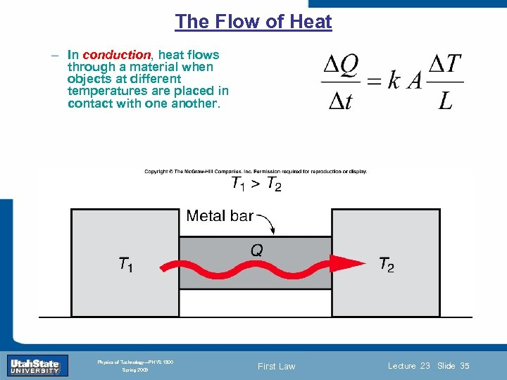 The Flow of Heat – In conduction, heat flows through a material when objects