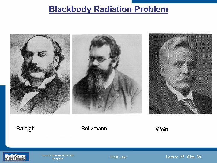 Blackbody Radiation Problem Introduction Section 0 Raleigh Lecture 1 Slide 39 Boltzmann Wein INTRODUCTION