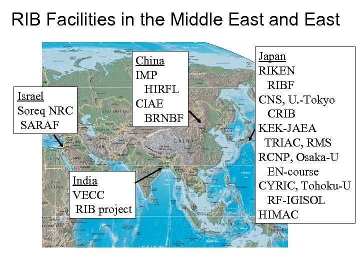 RIB Facilities in the Middle East and East Israel Soreq NRC SARAF India VECC