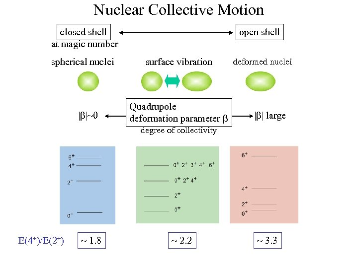 Nuclear Collective Motion closed shell at magic number spherical nuclei |b|~0 open shell surface