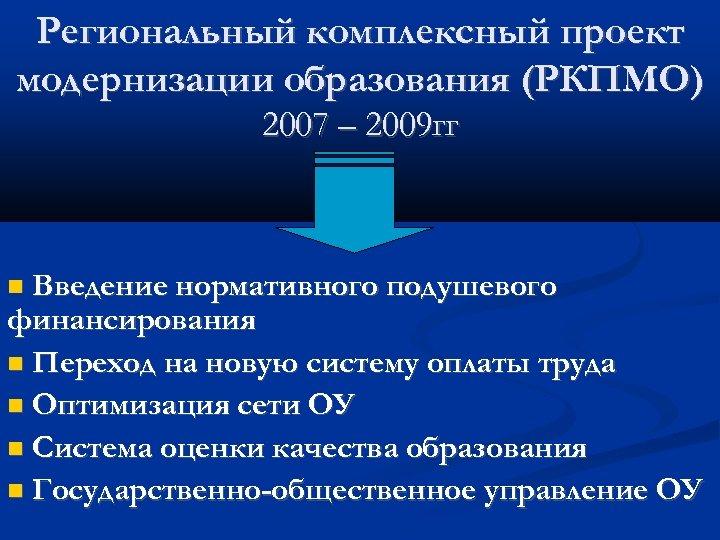 Региональный комплексный проект модернизации образования (РКПМО) 2007 – 2009 гг Введение нормативного подушевого финансирования